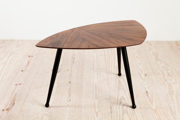 Wood Danish Craftsman Tripod Base Coffee Table, Rosewood Top Ebonized Legs
