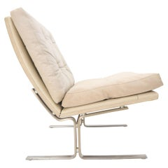 Danish Cream Off-White Leather Brushed Stainless Steel Base Lounge Chair