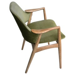 Danish Curved Arms Light Oak and Green Velvet Side Chair
