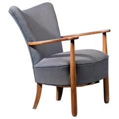 Danish Curved Easy Chair with Nut Wood Frame and Blue Wool, 1940s
