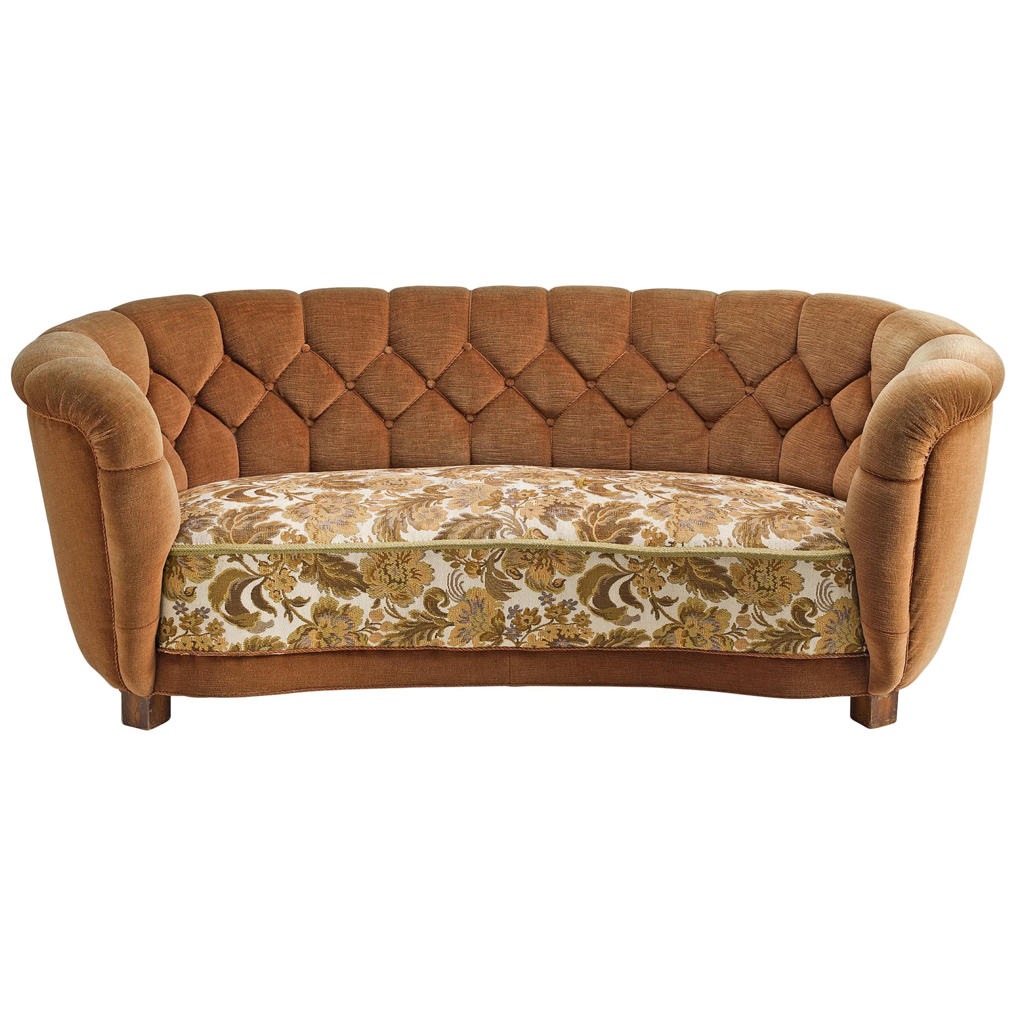 Danish Curved Quilted Sofa, 1950s