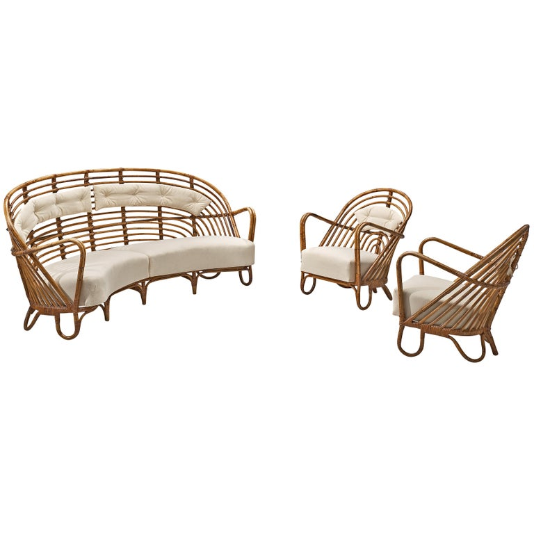 Danish Curved Rattan Sofa with Eggshell White Upholstery For Sale 6