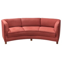 Danish Curved Sofa in Floral Red Upholstery