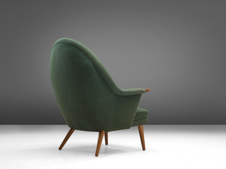 Scandinavian Modern Danish Customizable Lounge Chair with Rounded Backrest For Sale
