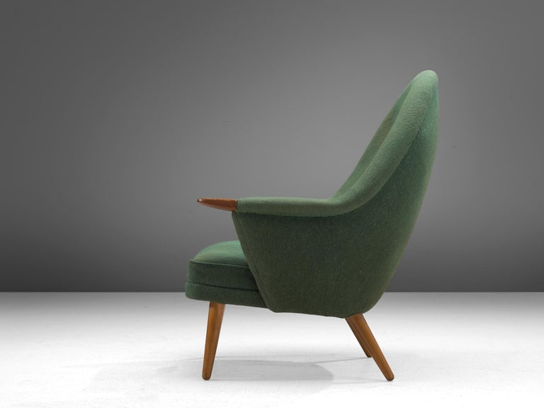 Danish Customizable Lounge Chair with Rounded Backrest In Fair Condition For Sale In Waalwijk, NL