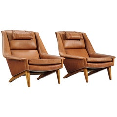 Folke Ohlsson Customizable Lounge Chairs in Cognac Leather