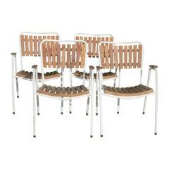 Danish Daneline Garden Chairs in Teak Set of 4 Stackable Garden Chairs