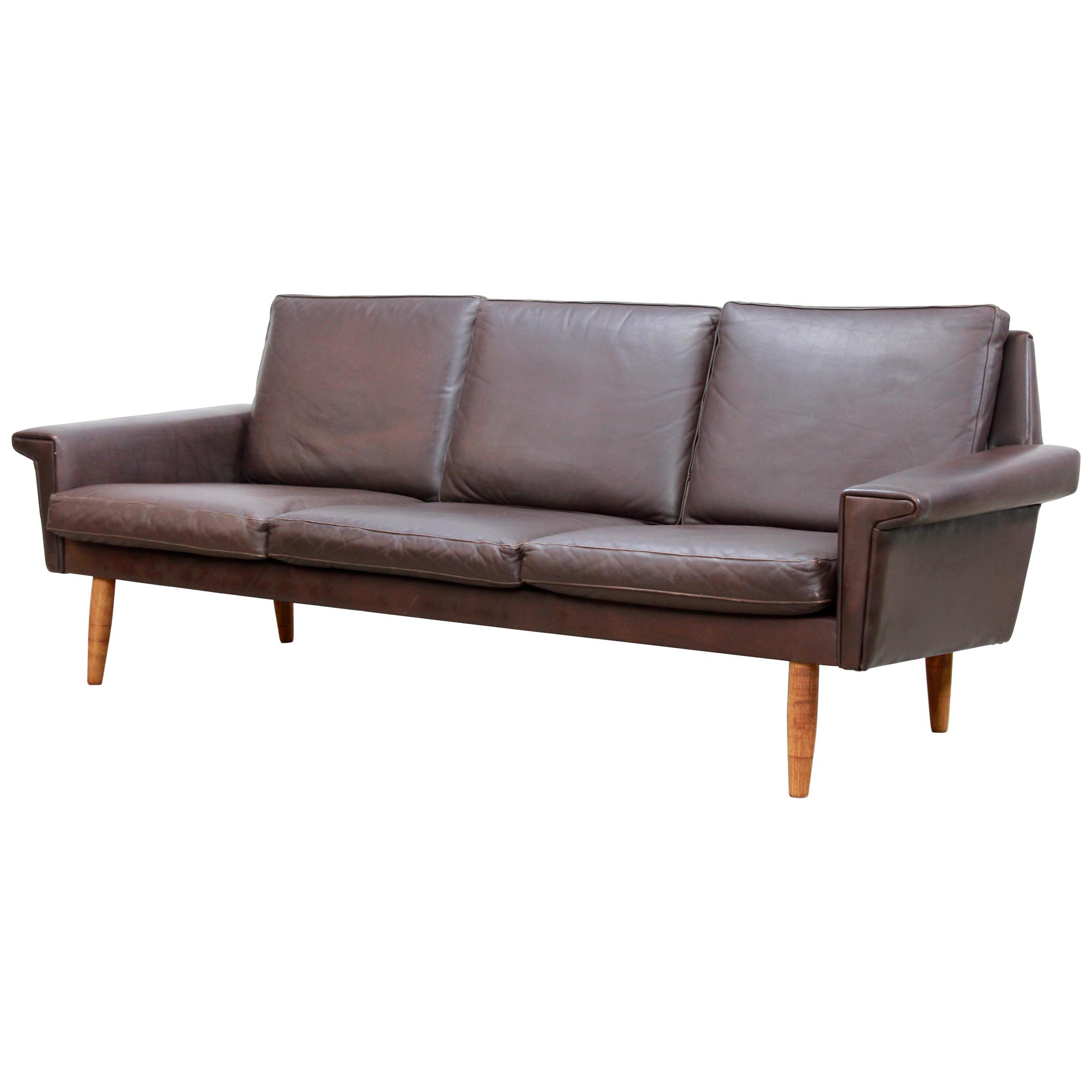 Danish Dark Brown Leather Three-Seat Sofa by Vejen Polstermøbelfabrik, 1960
