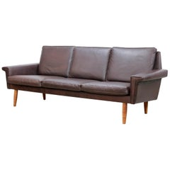 Danish Dark Brown Leather Three-Seat Sofa by Vejen Polstermøbelfabrik, 1960