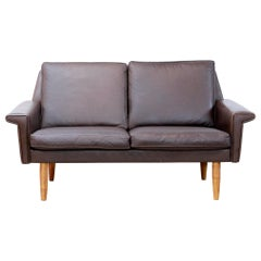 Danish Dark Brown Leather Two-Seater Sofa for Vejen Polstermøbelfabrik