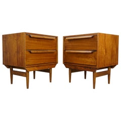 Danish Design and Micentury Style Pair of Large Wooden Bedside Tables