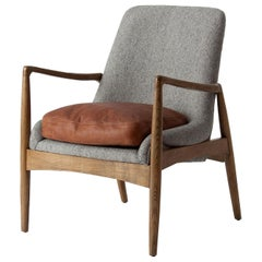 Danish Design and Midcentury Style Wooden Cognac Leather and Fabric Chair