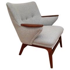 Danish Design Armchair, Quality Wool, Teak Wood, 1960s, Completely Restored