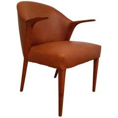 Danish Design by Kurt Olsen, Armchair 1960s, Leather, Completely Restored
