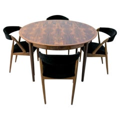 Danish Design Dining Set of Rosewood Table and Four Kai Kristiansen Chairs