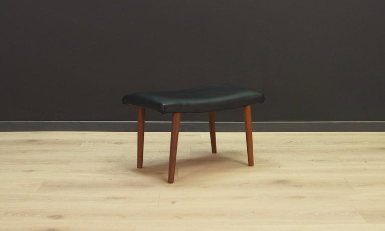 Great stool/footrest from the 1960s-1970s - Minimalist form. New upholstery made of eco-leather. Preserved in good condition (minor abrasions) - directly for use.  Dimensions: height 34.5 cm width 56 cm depth 33 cm.