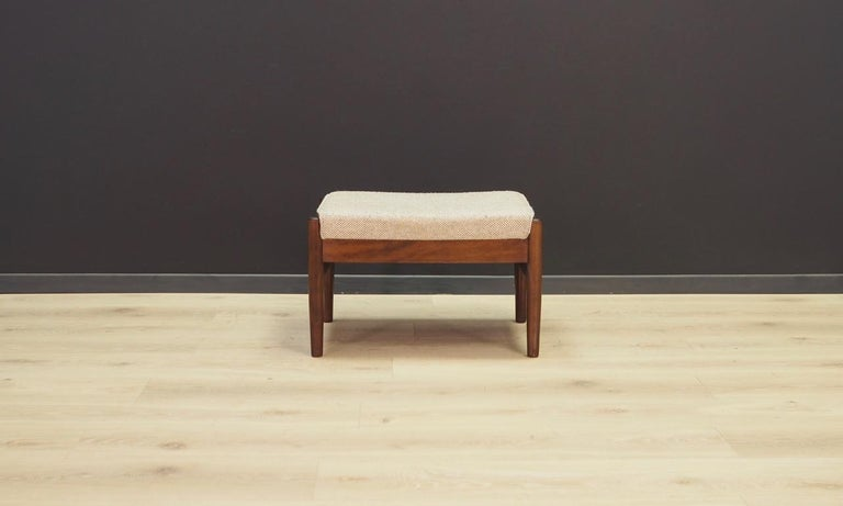 Great stool or footrest from the 1960s-1970s, Minimalist form. Original upholstery (color - gray), beech wood construction. Preserved in good condition (minor scratches) - directly for use.  Dimensions: Height 37 cm, width 59 cm, depth 42 cm.