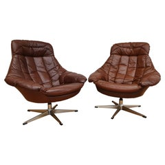 Danish Design, Henry Walter Klein, Pair of High-Backed Armchairs, Swivel Base