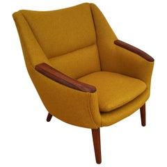 Danish Design, Kurt Østervig, Model 58, 1960s, Wool, Teak, Completely Renovated