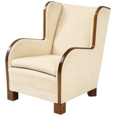 Danish Design Mahogany Wing Chair, circa 1930s