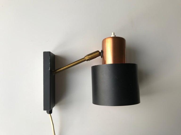 Danish Design Midcentury Wall Light by Jo Hammerborg In Good Condition For Sale In Copenhagen, DK