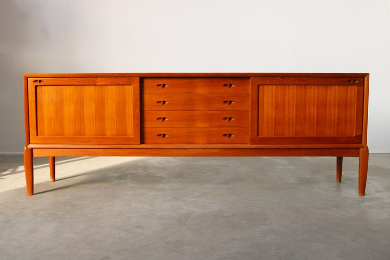 Mid-Century Modern Danish Design Sideboard / Credenza by H.W. Klein for Bramin Teak Brown, 1950s For Sale
