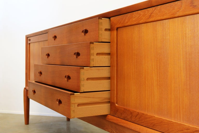 Mid-20th Century Danish Design Sideboard / Credenza by H.W. Klein for Bramin Teak Brown 1950s For Sale