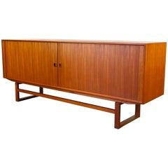 Danish Design Sideboard or Credenza by Axel Christensen 1950s Tambour Doors Teak