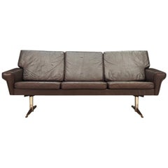 Danish Design Sofa 1960s Vintage Brown Leather