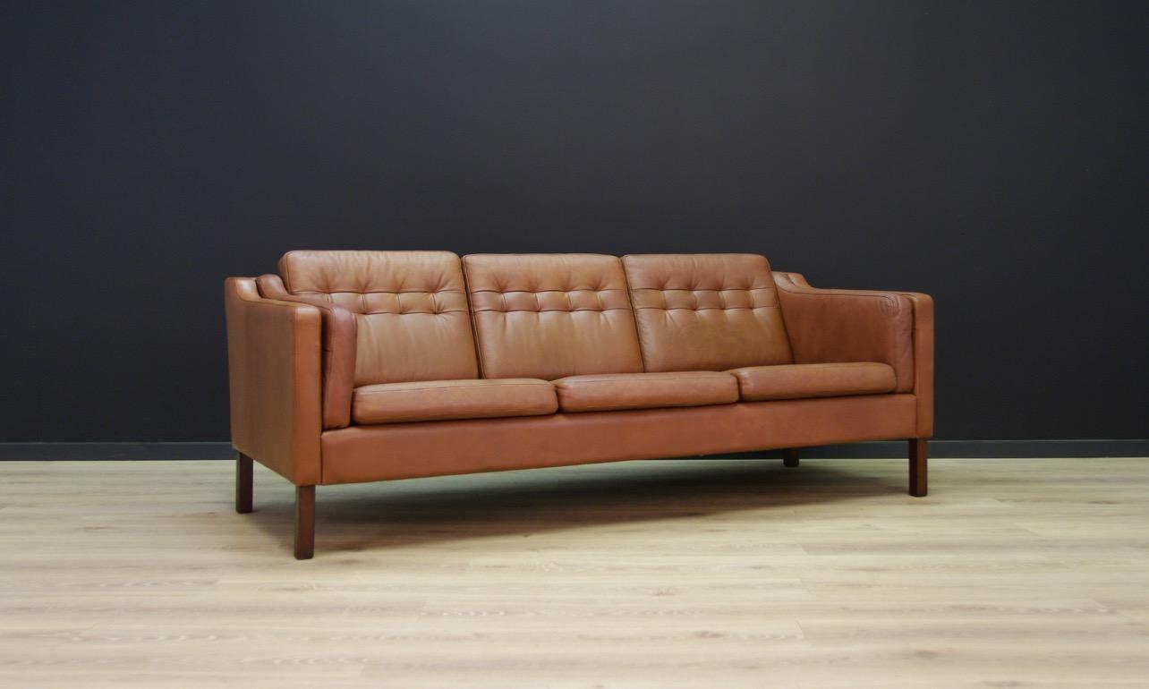 Hervorragend Dänisches Design Leder Sofa Vintage Jahrhundertmitte 2