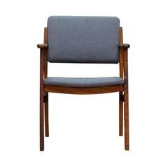 Danish Design Teak Grey Armchair Midcentury Classic, 1970s