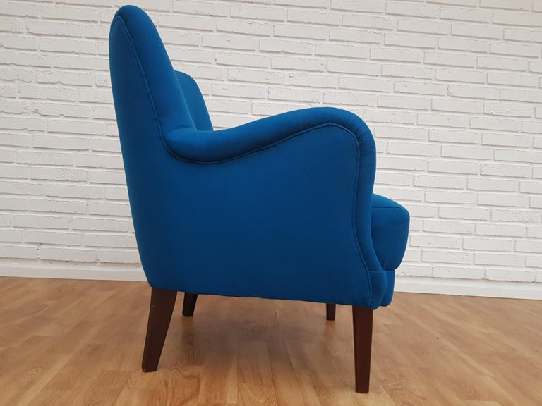 Danish Designed Armchair, 1970s, Wool, Beech, Completely Restored For Sale 6