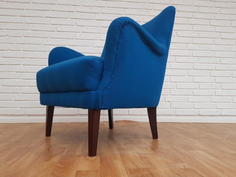 Scandinavian Modern Danish Designed Armchair, 1970s, Wool, Beech, Completely Restored For Sale
