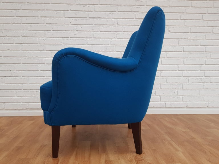 Stained Danish Designed Armchair, 1970s, Wool, Beech, Completely Restored For Sale