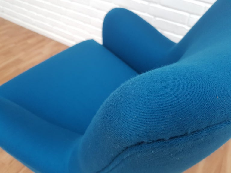 Mid-20th Century Danish Designed Armchair, 1970s, Wool, Beech, Completely Restored For Sale