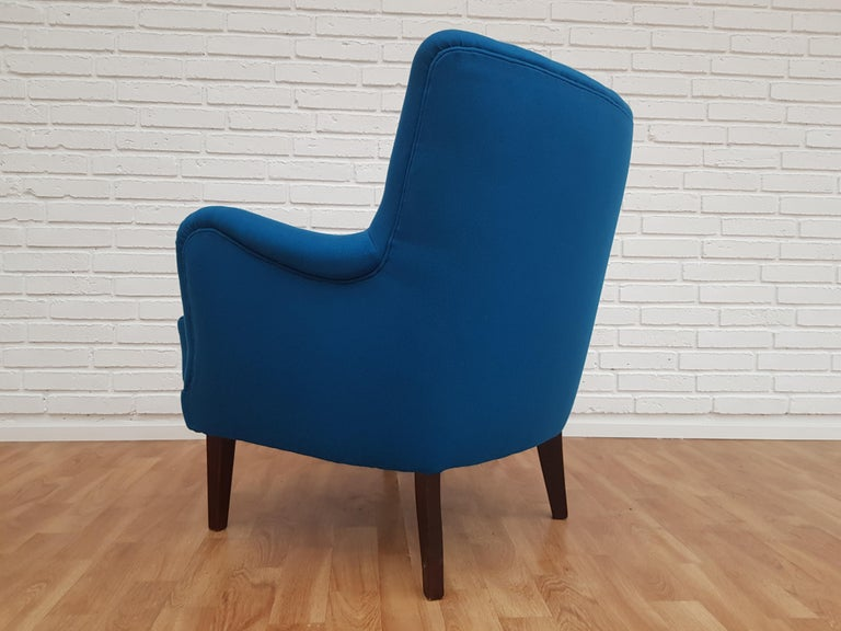 Danish Designed Armchair, 1970s, Wool, Beech, Completely Restored For Sale 1
