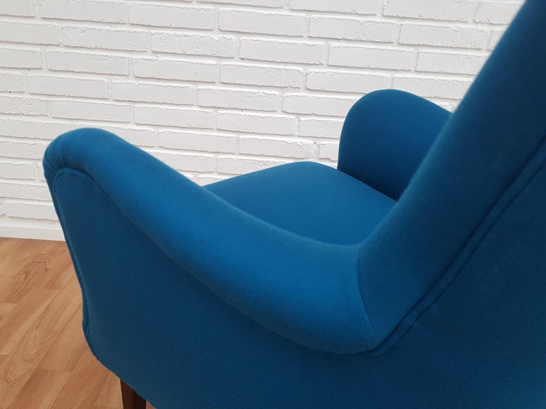 Danish Designed Armchair, 1970s, Wool, Beech, Completely Restored For Sale 2