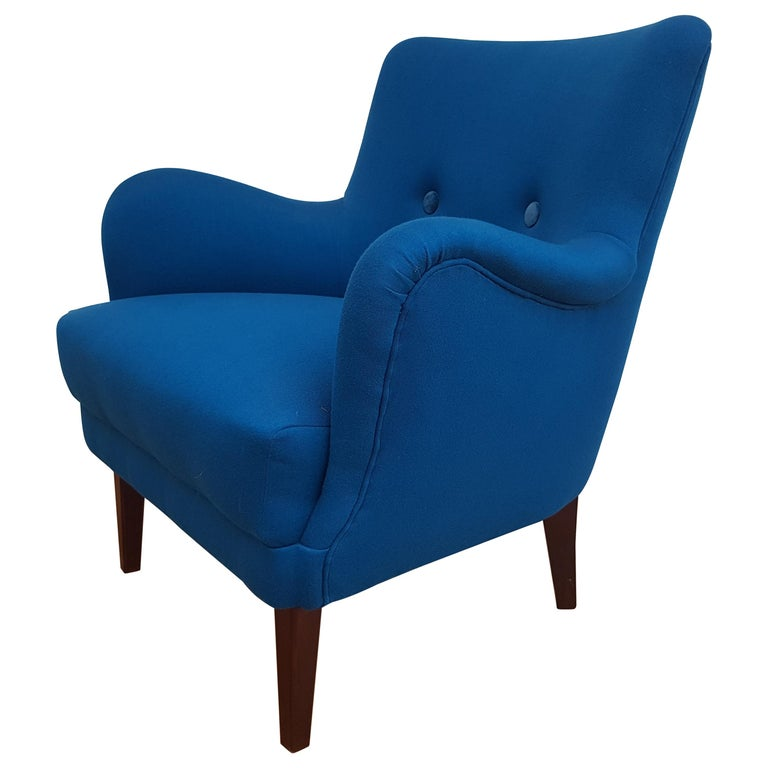 Danish Designed Armchair, 1970s, Wool, Beech, Completely Restored For Sale