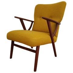 Danish Designed Armchair, Teak Wood, Wool, 1960s, Completely Restored