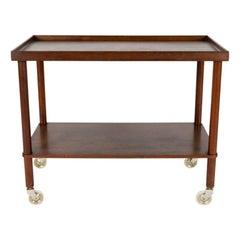 Danish Designed Rosewood Rolling Table-Side Cart, circa 1960