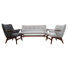 Danish Designed Sofa Set, Teak Wood, Wool, Completely Restored, 1960s