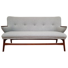Danish Designed Sofa, Teak Wood, Wool, Completely Restored, 1960s