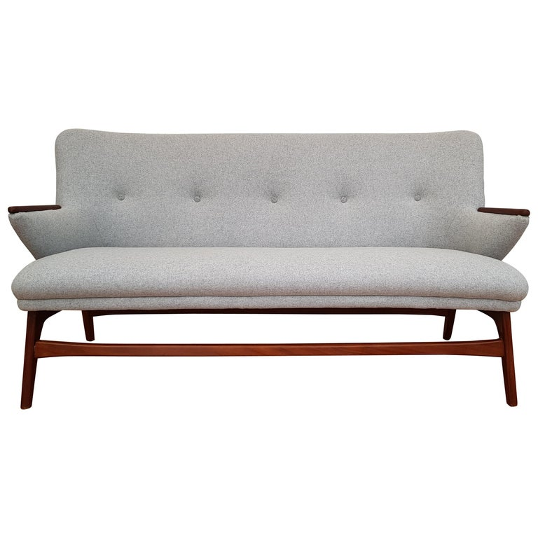 Danish Designed Sofa Teak Wood Wool Completely Red 1960s