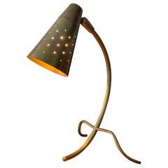 Danish Designer, Adjustable Modernist Table Lamp, Brass, Denmark, 1940s