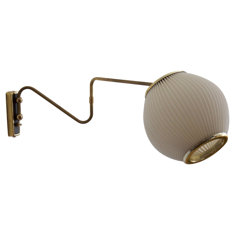 Danish Designer, Adjustable Wall Light, Brass, Acrylic, Denmark, 1950s