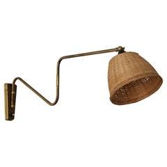 Danish Designer, Adjustable Wall Light, Brass, Rattan, Denmark, 1940s
