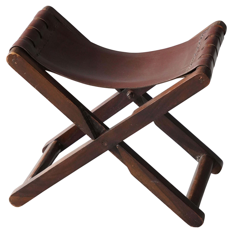 Danish Designer, Foldable Stool, Leather, Stained Wood, Denmark, 1940s