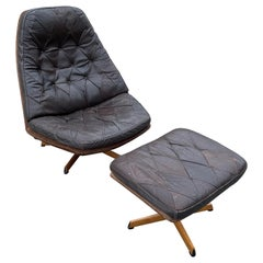 Danish Designer Madsen and Schubell Brown Leather Swivel Chair and Ottoman