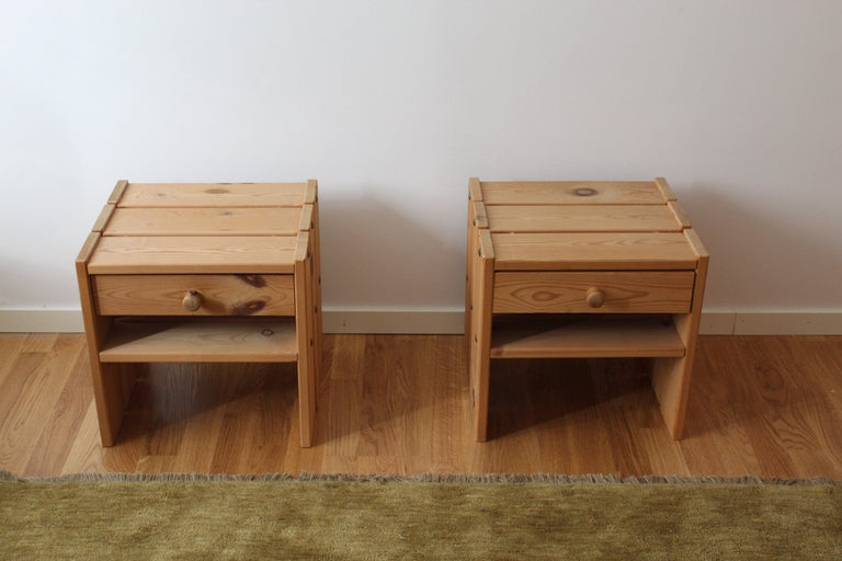 Modern Danish Designer, Minimalist Bedside Cabinets, Solid Stained Pine, Denmark, 1970s For Sale