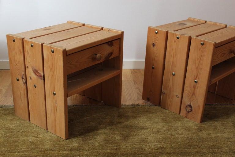Swedish Danish Designer, Minimalist Bedside Cabinets, Solid Stained Pine, Denmark, 1970s For Sale